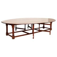 Extra Long Antique Gateleg Table English Drop Leaf Wake Table