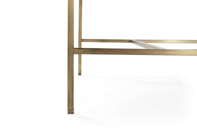 Stamford Modern's Architectural Brass Bench in Chenille For Sale 4