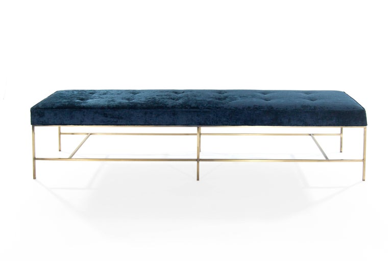 American Stamford Modern's Architectural Brass Bench in Chenille For Sale
