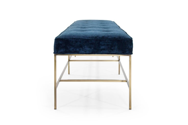 Stamford Modern's Architectural Brass Bench in Chenille In New Condition For Sale In Stamford, CT