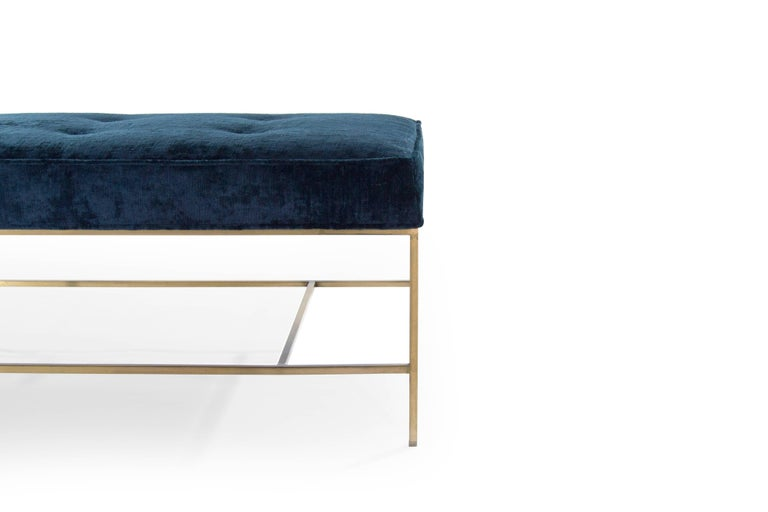 Contemporary Stamford Modern's Architectural Brass Bench in Chenille For Sale