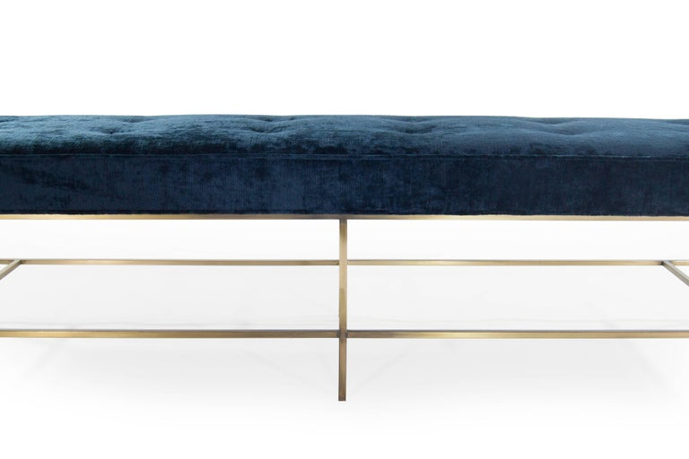 Stamford Modern's Architectural Brass Bench in Chenille For Sale 1