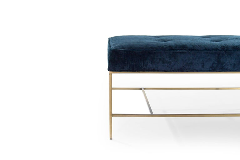 Stamford Modern's Architectural Brass Bench in Chenille For Sale 2