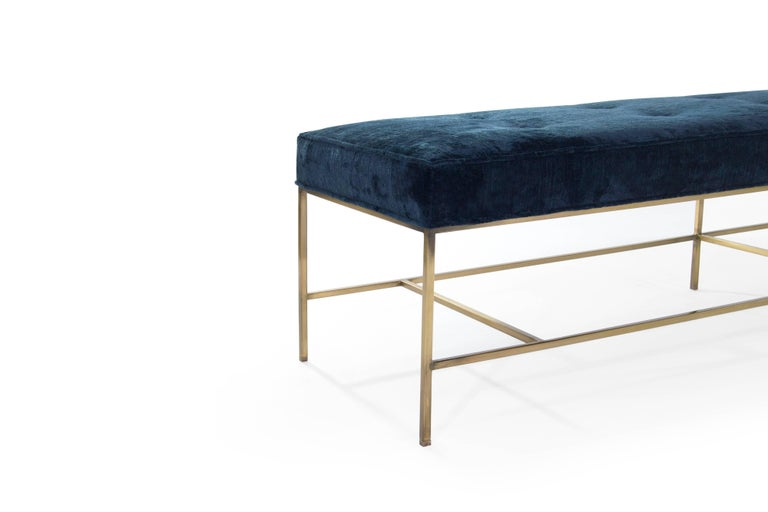 Stamford Modern's Architectural Brass Bench in Chenille For Sale 3