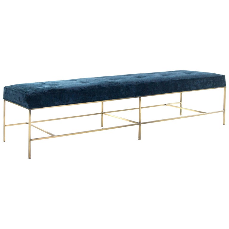 Stamford Modern's Architectural Brass Bench in Chenille For Sale