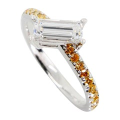 Extra Long Baguette '0.73 Carat' with Fancy Vivid Yellow Diamond Cocktail Ring