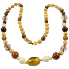 Extra Long Bakelite and Lucite Necklace Warm Fall Colors Marble Beads