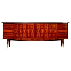 Extra Long French Deco Macassar Buffet Credenza with Marquetry and Ebonized Top