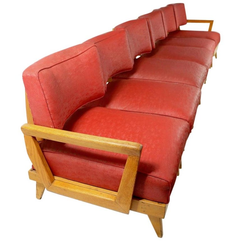 Extra Long Mid Century  Modular 6-Seat Sofa For Sale