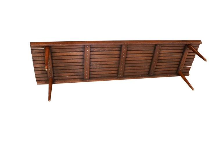 Extra Long Mid Century Slatted Wood Bench Coffee Table George Nelson Style   For Sale 4
