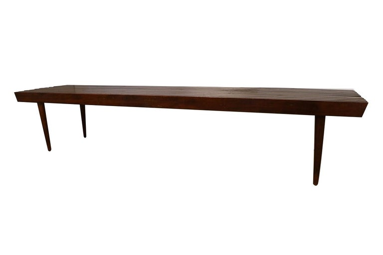 Mid-Century Modern Extra Long Mid Century Slatted Wood Bench Coffee Table George Nelson Style   For Sale