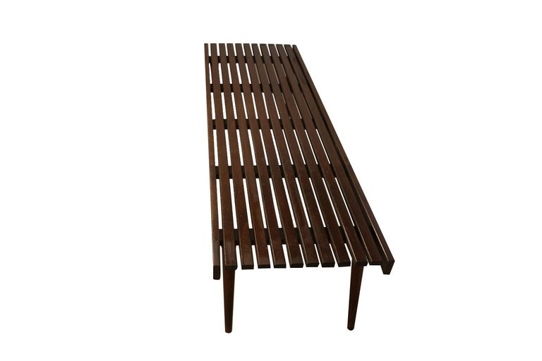 American Extra Long Mid Century Slatted Wood Bench Coffee Table George Nelson Style   For Sale