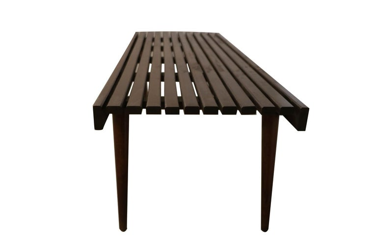 Extra Long Mid Century Slatted Wood Bench Coffee Table George Nelson Style   In Good Condition For Sale In Baltimore, MD