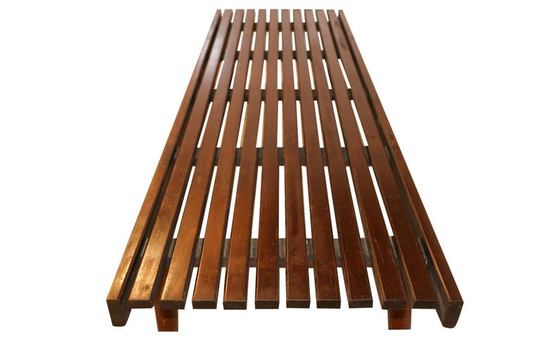 Mid-20th Century Extra Long Mid Century Slatted Wood Bench Coffee Table George Nelson Style   For Sale