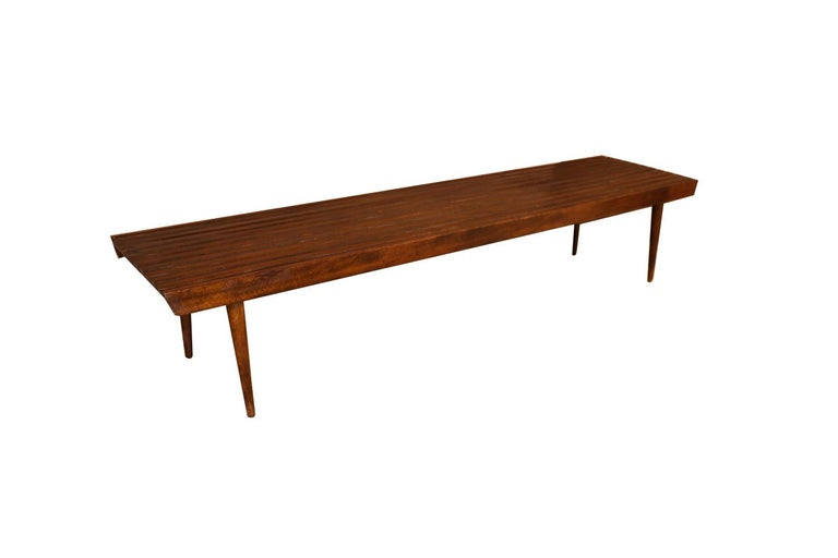 Extra Long Mid Century Slatted Wood Bench Coffee Table George Nelson Style   For Sale 3