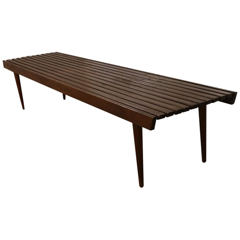 Extra Long Mid Century Slatted Wood Bench Coffee Table George Nelson Style   For Sale