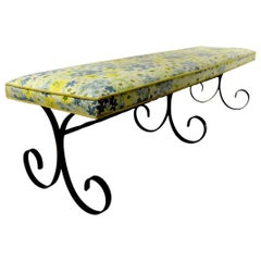 Extra Long Mid Century Wrought Iron and Upholstered Bench
