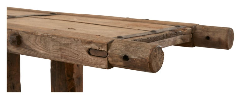 French Extra Long Salvaged Truck Panel Table For Sale