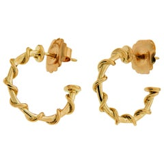 Extra Small Gold Rope Hoop Nautical Earrings