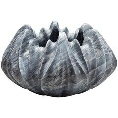 Marble Vase by Zaha Hadid in Bardiglio Nuvolato Marble