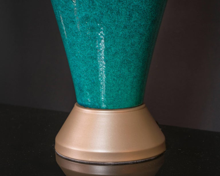 Extra Tall Turquoise Pottery Lamps with Gold Toned Base In Excellent Condition For Sale In Houston, TX