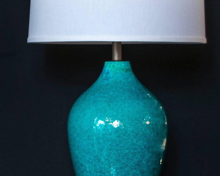 Mid-20th Century Extra Tall Turquoise Pottery Lamps with Gold Toned Base For Sale