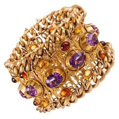 Extra Wide Amethyst Citrine Yellow Gold Bracelet