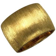 Extra Wide Gold Cuff with Textured Florentine Finish by Designer Martha O'Brien