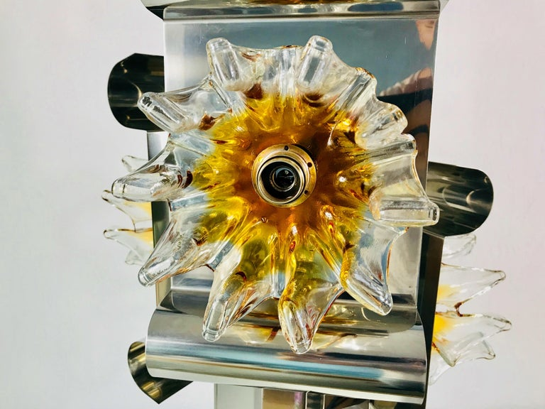 Extraordinary Aluminium and Murano Glass Ceiling Light by Mazegga, 1970s, Italy In Good Condition For Sale In Hagenbach, DE