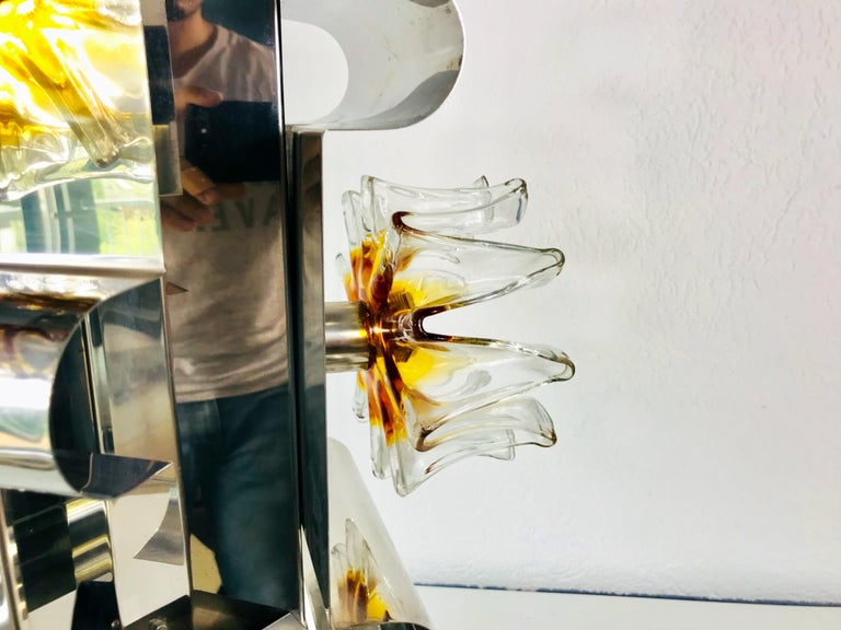 Late 20th Century Extraordinary Aluminium and Murano Glass Ceiling Light by Mazegga, 1970s, Italy For Sale