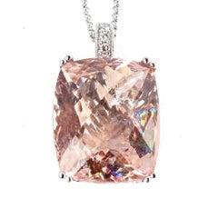 Extraordinary 15 Carat Morganite White Gold and Diamond Pendant