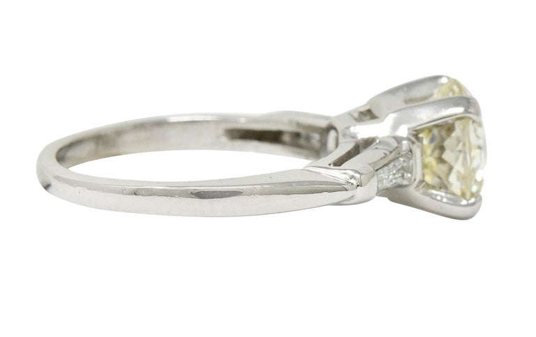 Retro 1.82 Carat Jubilee Cut Diamond Platinum Engagement Ring GIA