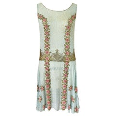 Extraordinary 1920s 3D Pink & Gold Floral Beaded Blue Flapper Dress