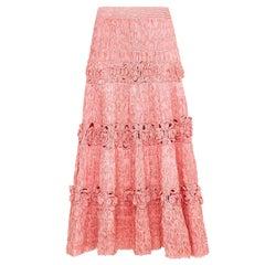 Extraordinary 1950s Pink Woven Raffia Skirt