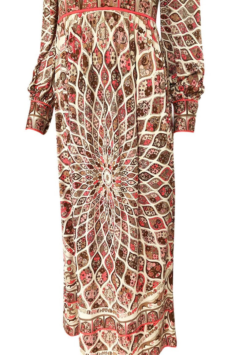 Extraordinary 1960s Emilio Pucci Silk Jersey Intricate Swirl Print Dress For Sale 5