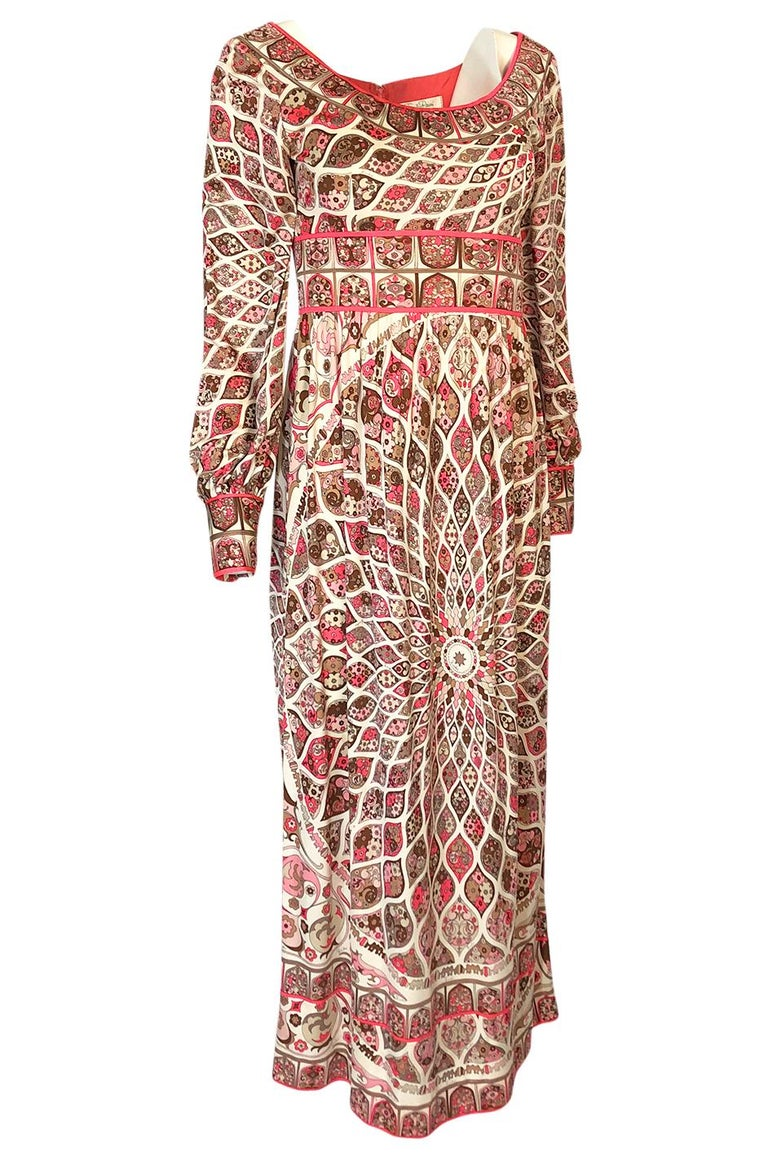 Brown Extraordinary 1960s Emilio Pucci Silk Jersey Intricate Swirl Print Dress For Sale