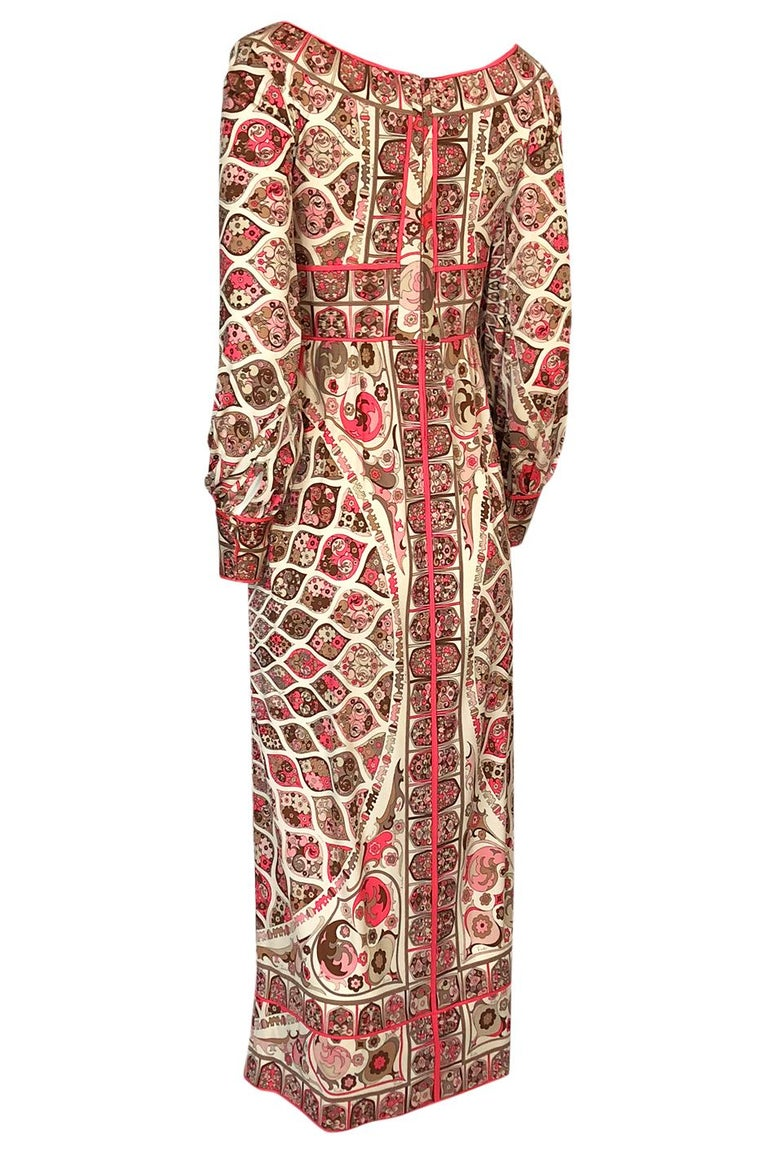 Women's Extraordinary 1960s Emilio Pucci Silk Jersey Intricate Swirl Print Dress For Sale