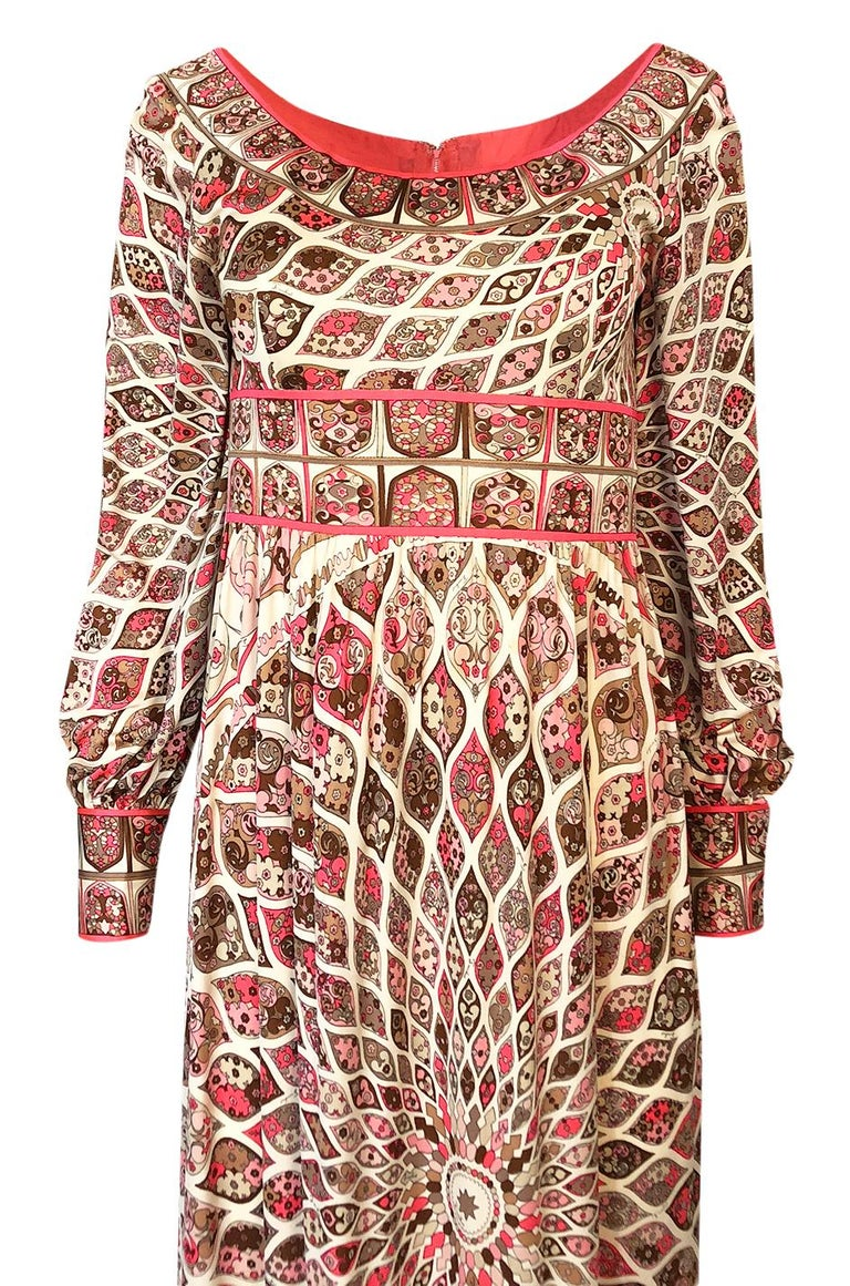 Extraordinary 1960s Emilio Pucci Silk Jersey Intricate Swirl Print Dress For Sale 1