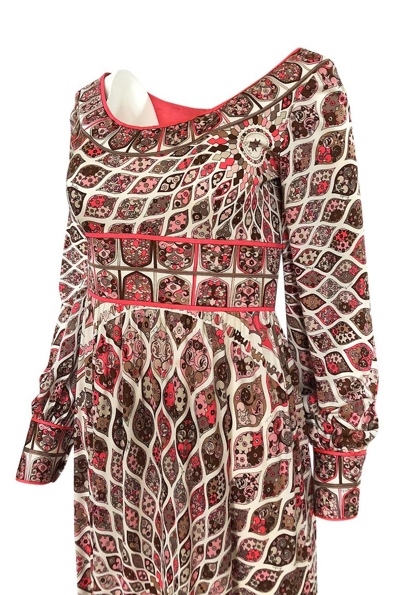 Extraordinary 1960s Emilio Pucci Silk Jersey Intricate Swirl Print Dress For Sale 2