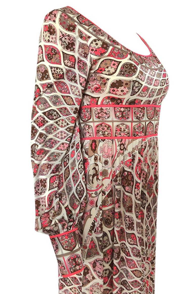 Extraordinary 1960s Emilio Pucci Silk Jersey Intricate Swirl Print Dress For Sale 3