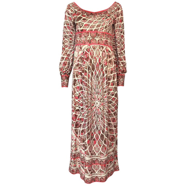 Extraordinary 1960s Emilio Pucci Silk Jersey Intricate Swirl Print Dress For Sale