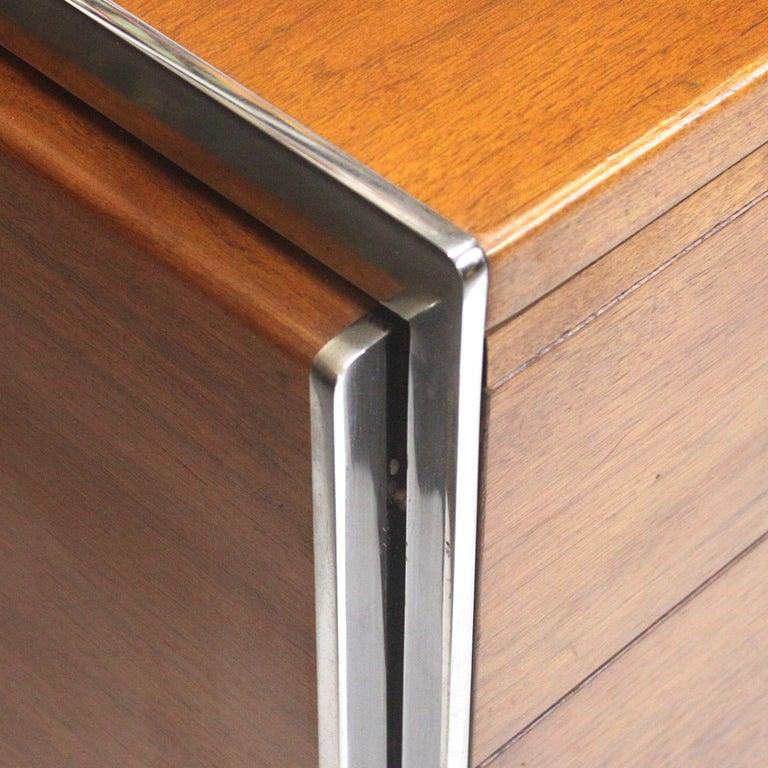 Extraordinary 1970s Mid-Century Modern Walnut and Aluminium Desk by Stow Davis 1