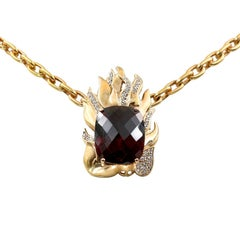 Extraordinary 21.39 Carat Natural Rhodolite and Diamond Necklace