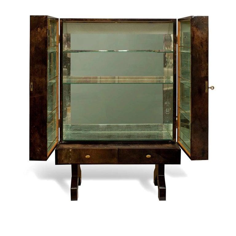 Italian Extraordinary Aldo Tura Bar Cabinet in Tortoise Goatskin For Sale