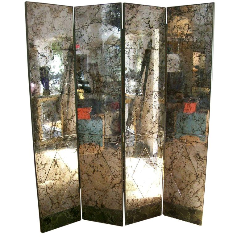 Extraordinary and Important Four-Panel Antique Mirrored Screen