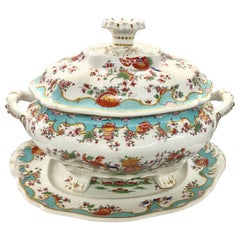 Extraordinary Antique English Worcester Porcelain Jabberwocky Soup Tureen