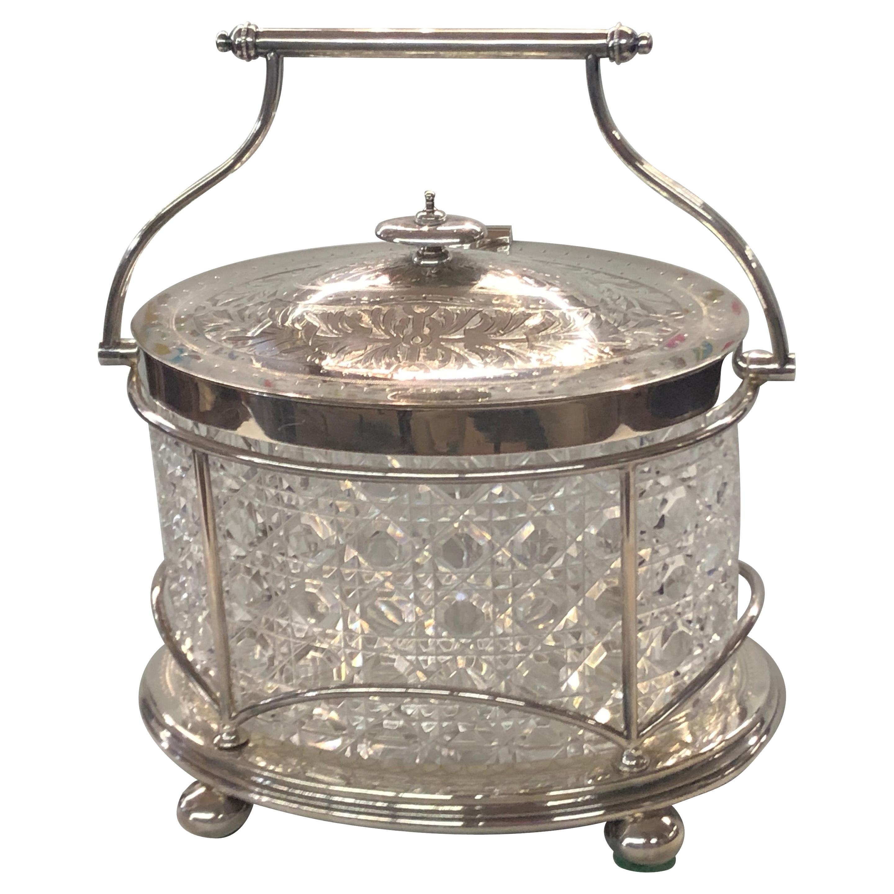 Extraordinary Antique English Sheffield Silverplate & Cut Glass Oval Biscuit Box