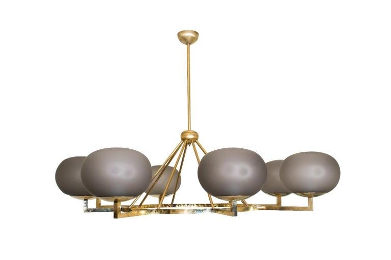 European Extraordinary Brass and Grey Opaline Murano Glass Large Modern Chandelier For Sale