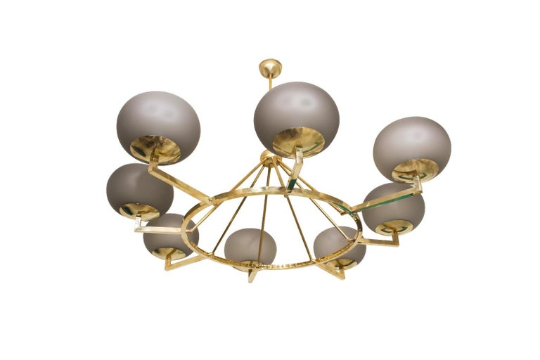 Extraordinary Brass and Grey Opaline Murano Glass Large Modern Chandelier For Sale 2