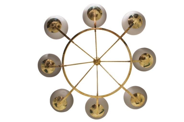 Extraordinary Brass and Grey Opaline Murano Glass Large Modern Chandelier For Sale 3